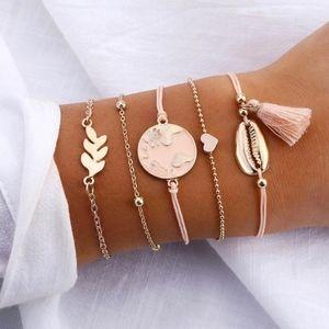 Jewelry - Boho Seashell & Heart Charm 5pcs Layered Bracelet